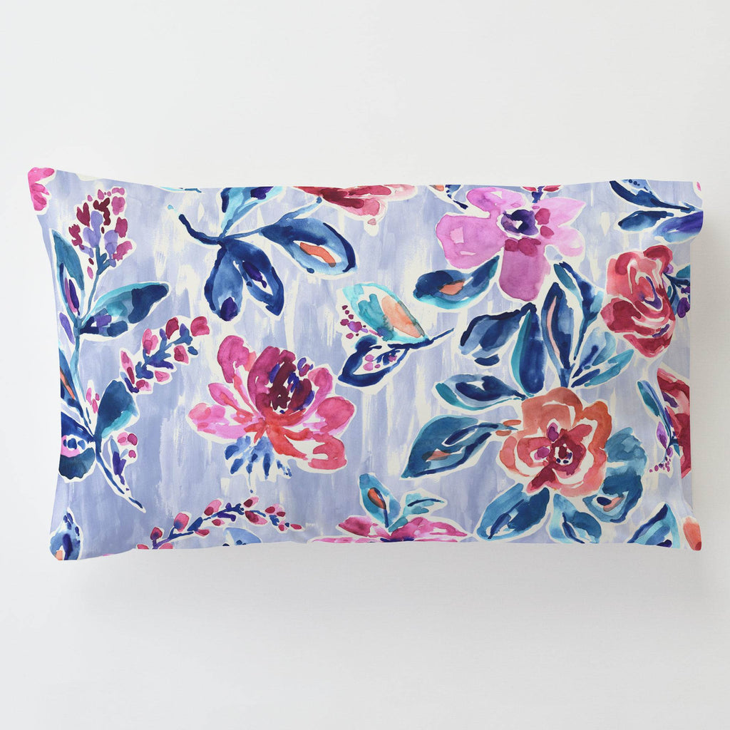 Product image for Pink and Lavender Garden Toddler Pillow Case with Pillow Insert