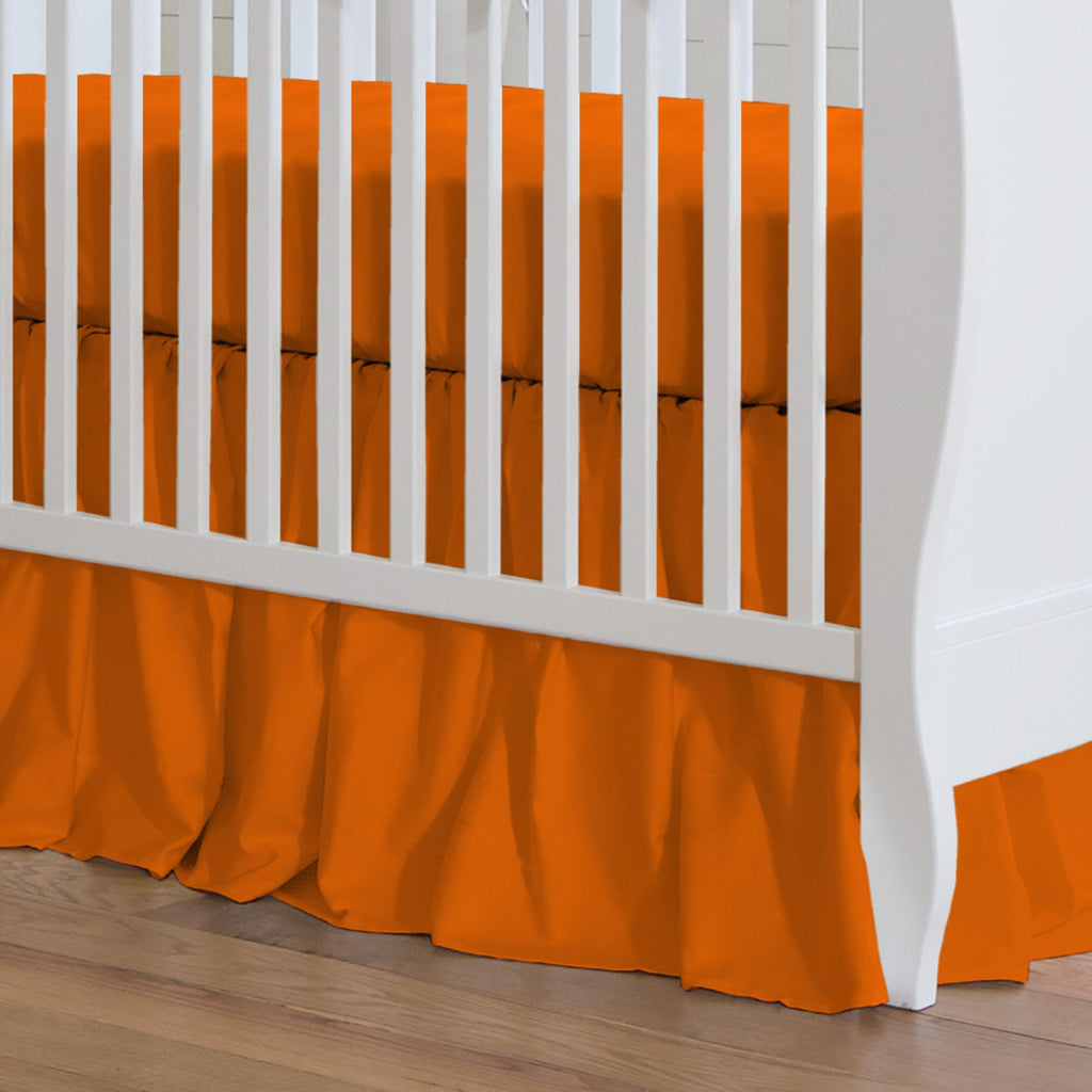 Product image for Solid Orange Crib Skirt Gathered