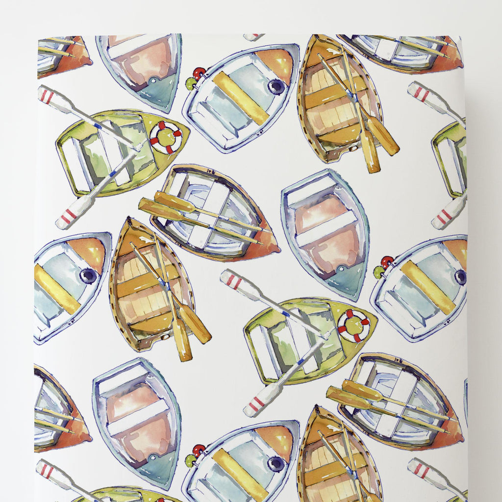 Product image for Watercolor Boats Toddler Sheet Bottom Fitted