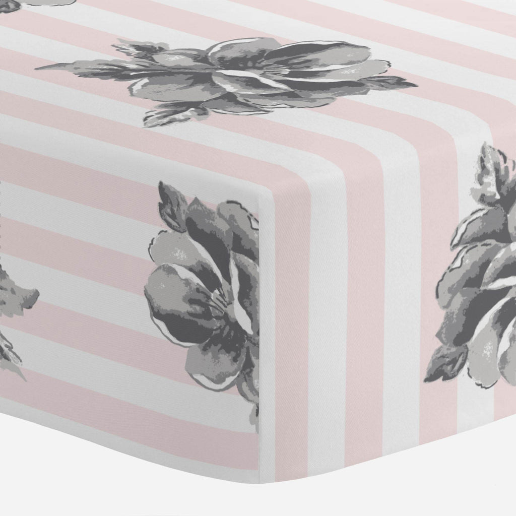 Product image for Pink and Gray Floral Stripe Crib Sheet