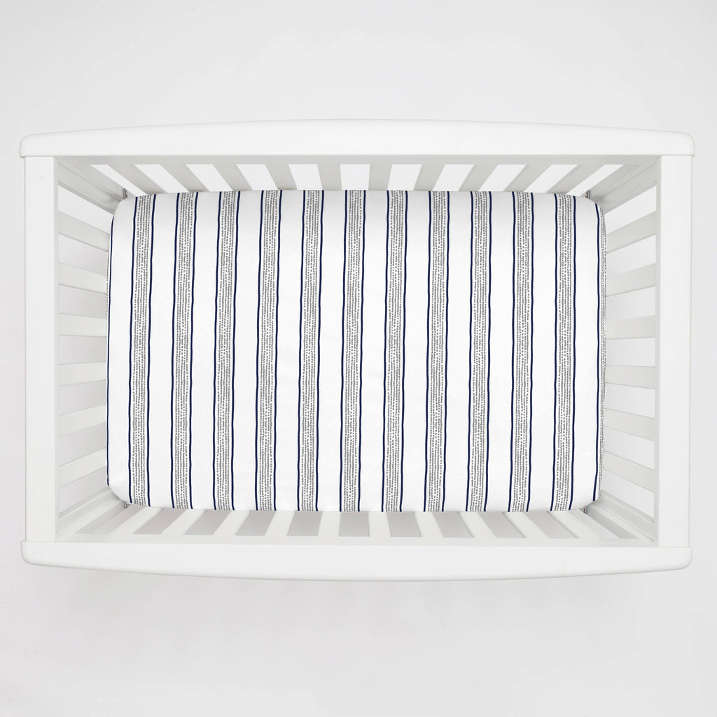 Product image for Navy and Gray Beach Stripe Mini Crib Sheet