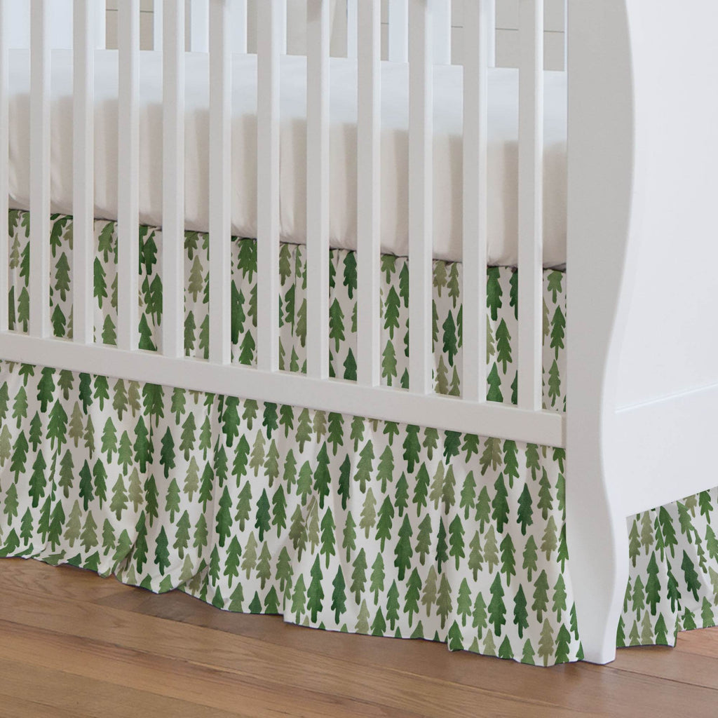 Product image for Evergreen Forest Crib Skirt Gathered