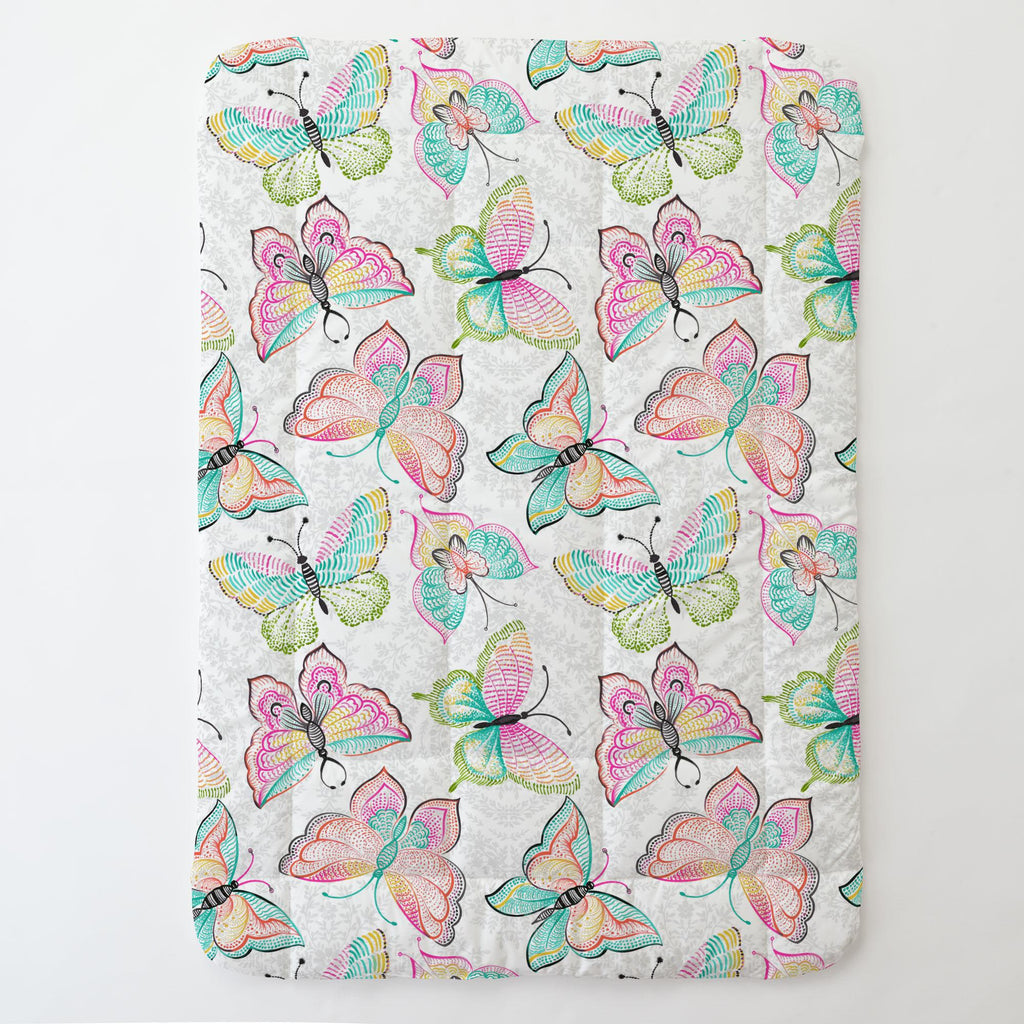 Product image for Bright Damask Butterflies Toddler Comforter