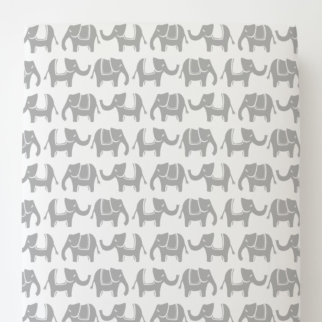 Product image for Silver Gray Marching Elephants Toddler Sheet Bottom Fitted
