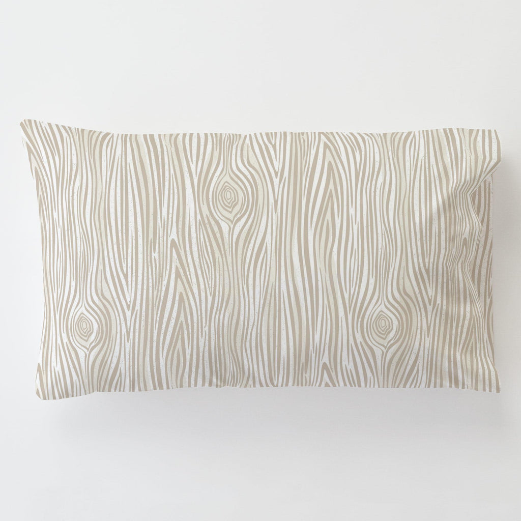 Product image for Taupe Woodgrain Toddler Pillow Case with Pillow Insert