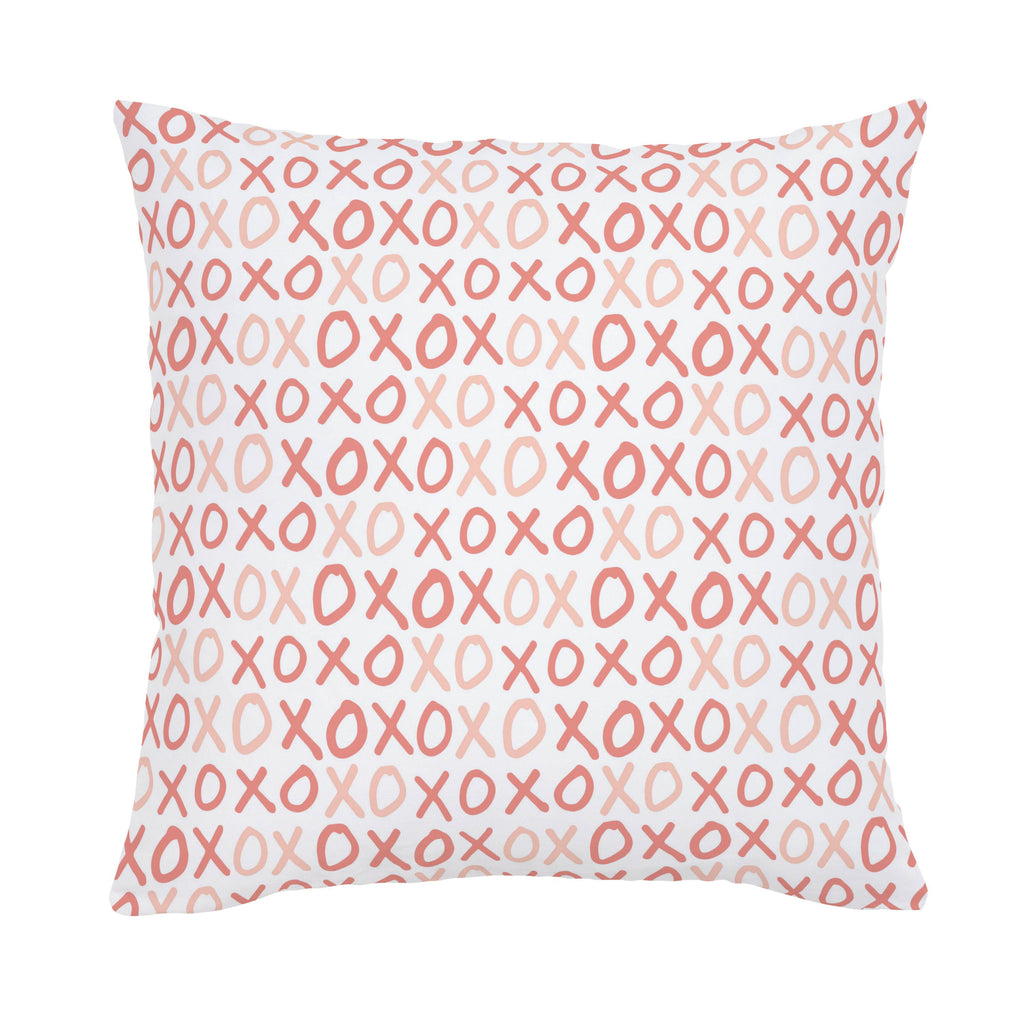 Product image for Light Coral and Peach XO Throw Pillow