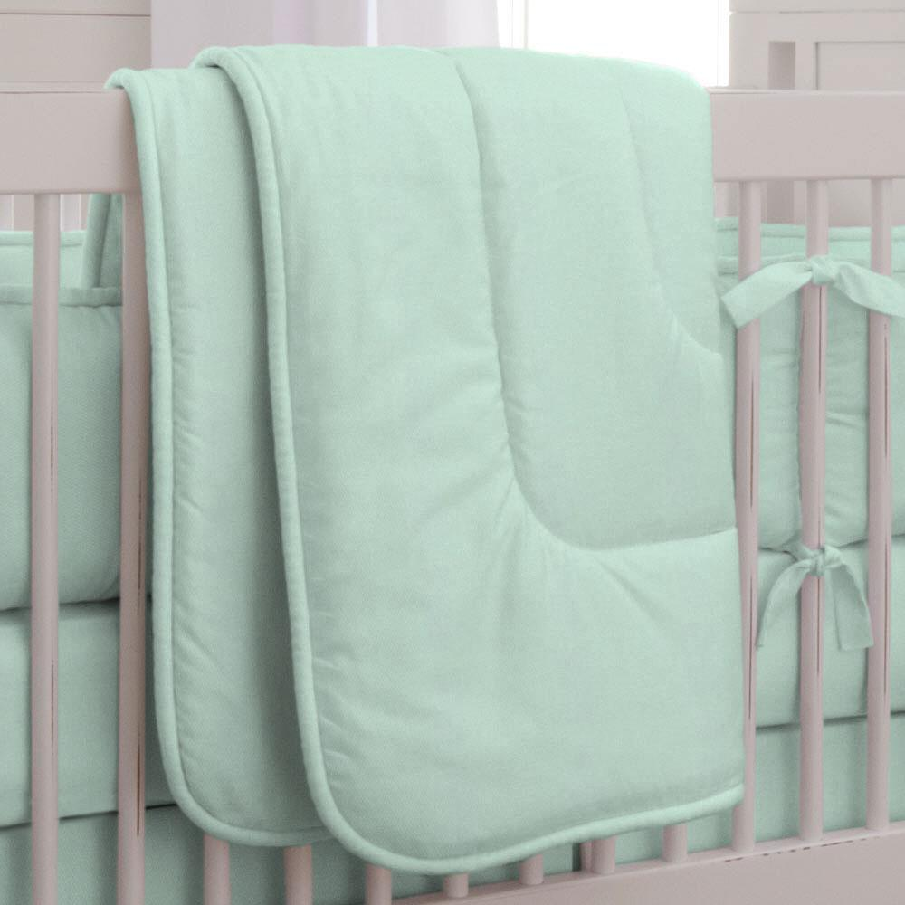 Product image for Solid Mint Crib Comforter with Piping