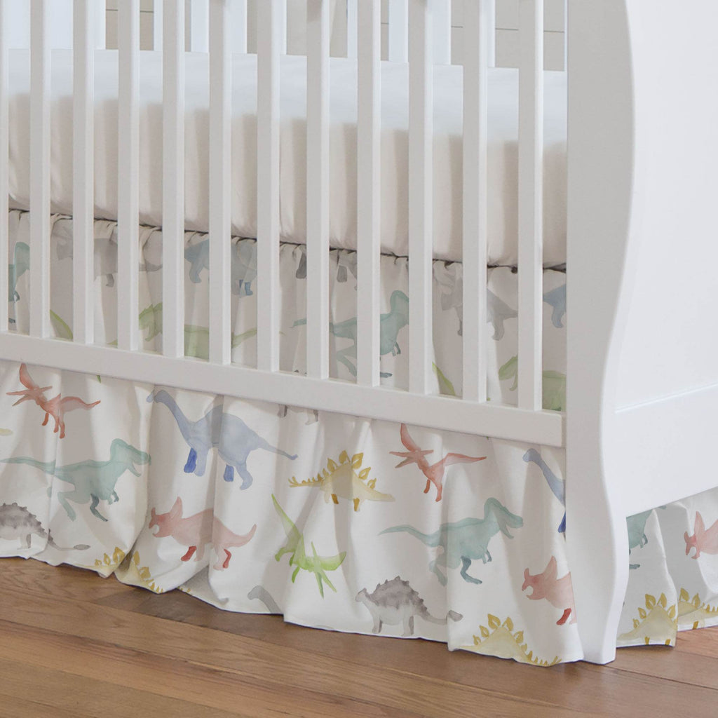 Product image for Watercolor Dinosaurs Crib Skirt Gathered