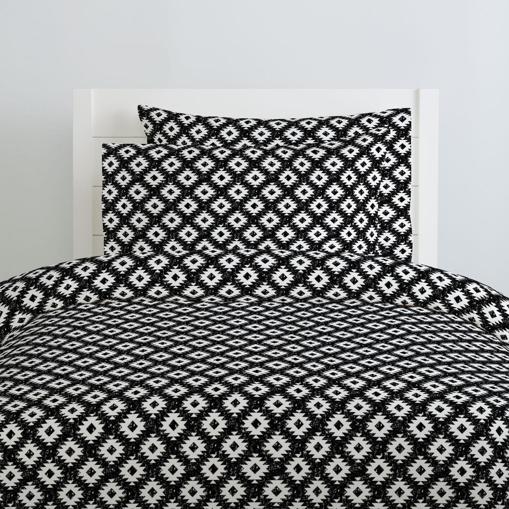 Product image for Onyx and White Aztec Duvet Cover