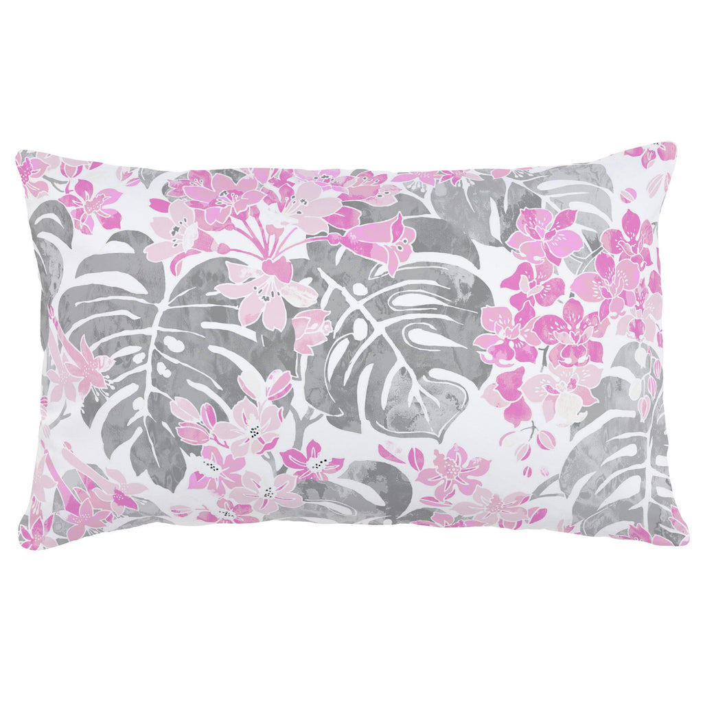 Product image for Pink and Gray Tropical Lumbar Pillow
