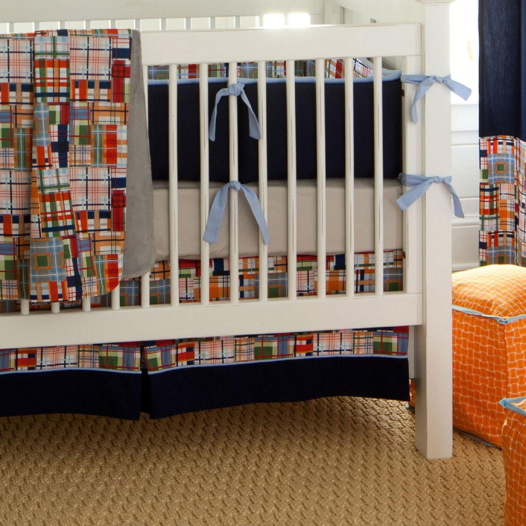 Product image for Patchwork Plaid Crib Skirt with Trim