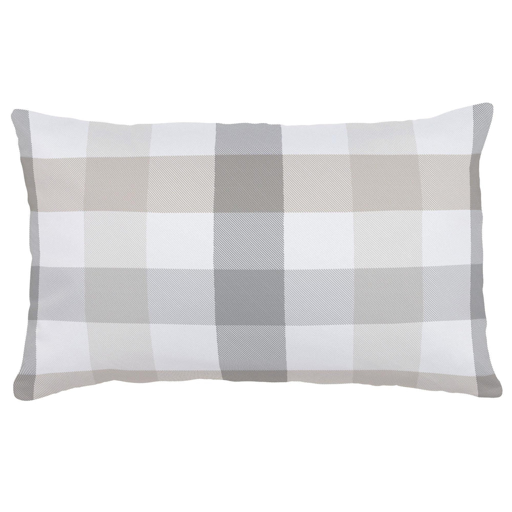 Product image for Gray and Taupe Buffalo Check Lumbar Pillow