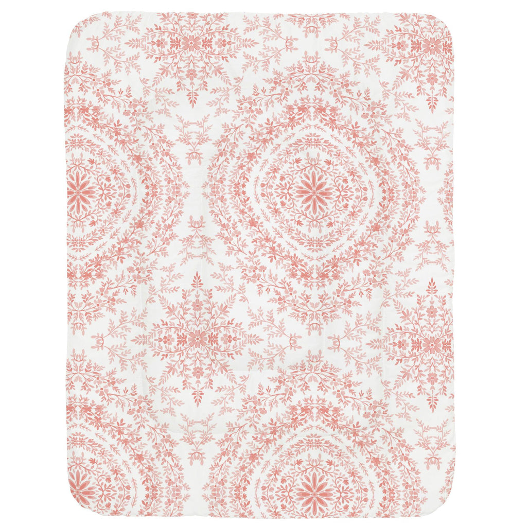 Product image for Light Coral Floral Damask Crib Comforter