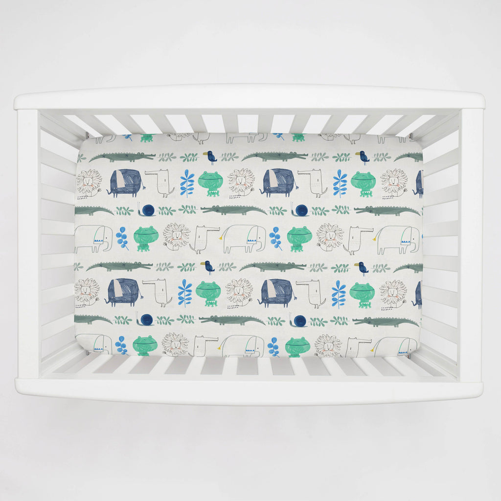 Product image for Safari Friends Mini Crib Sheet