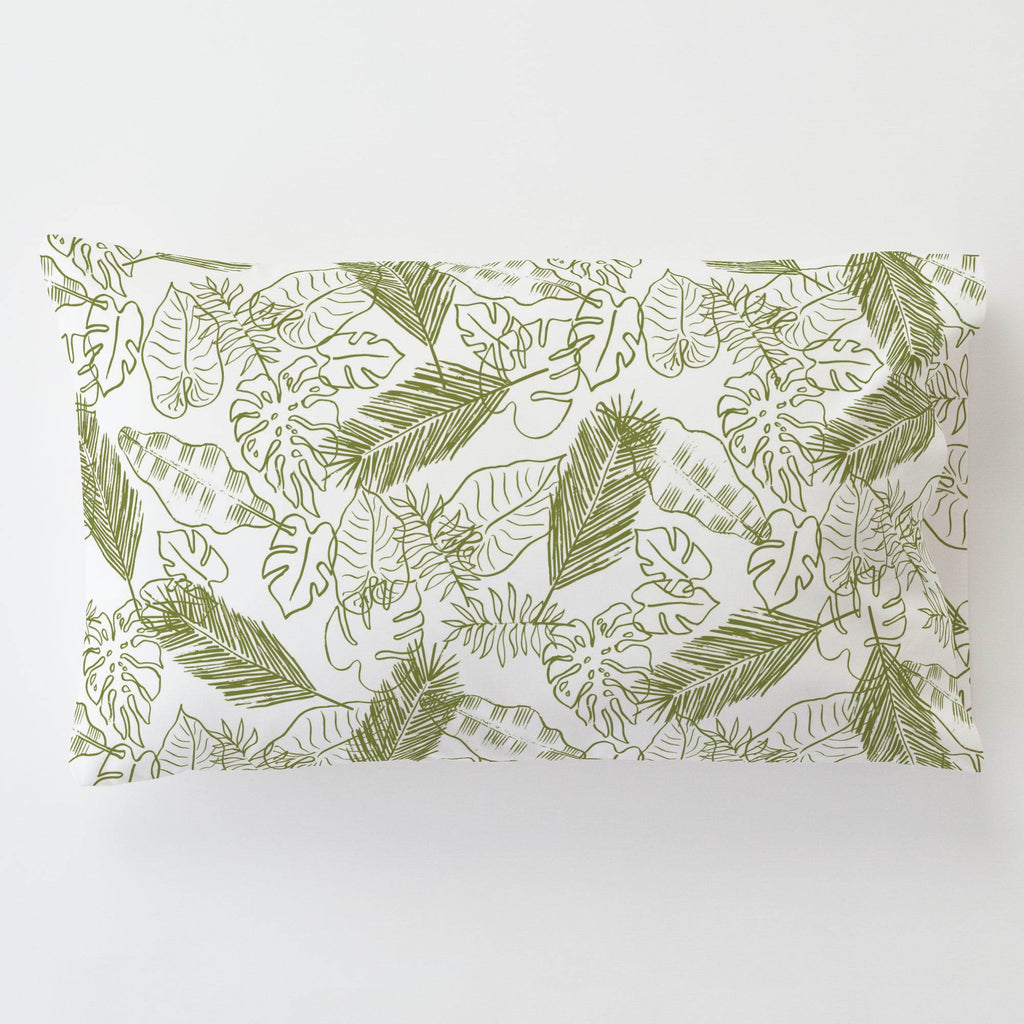 Product image for Sage Palm Leaves Toddler Pillow Case with Pillow Insert