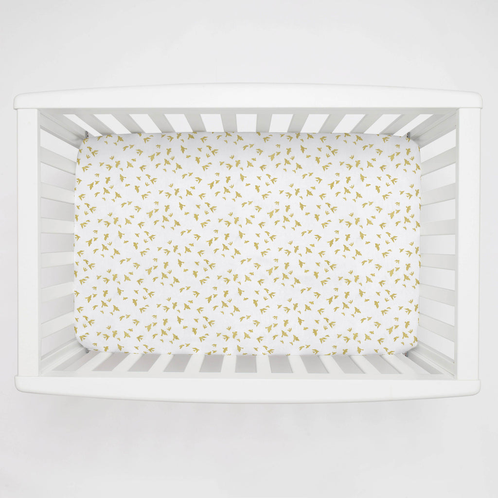 Product image for White and Gold Birds Mini Crib Sheet