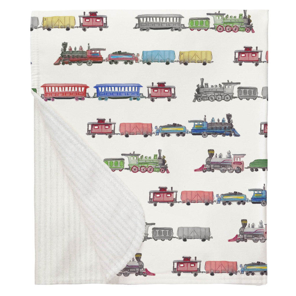 Product image for Watercolor Trains Baby Blanket
