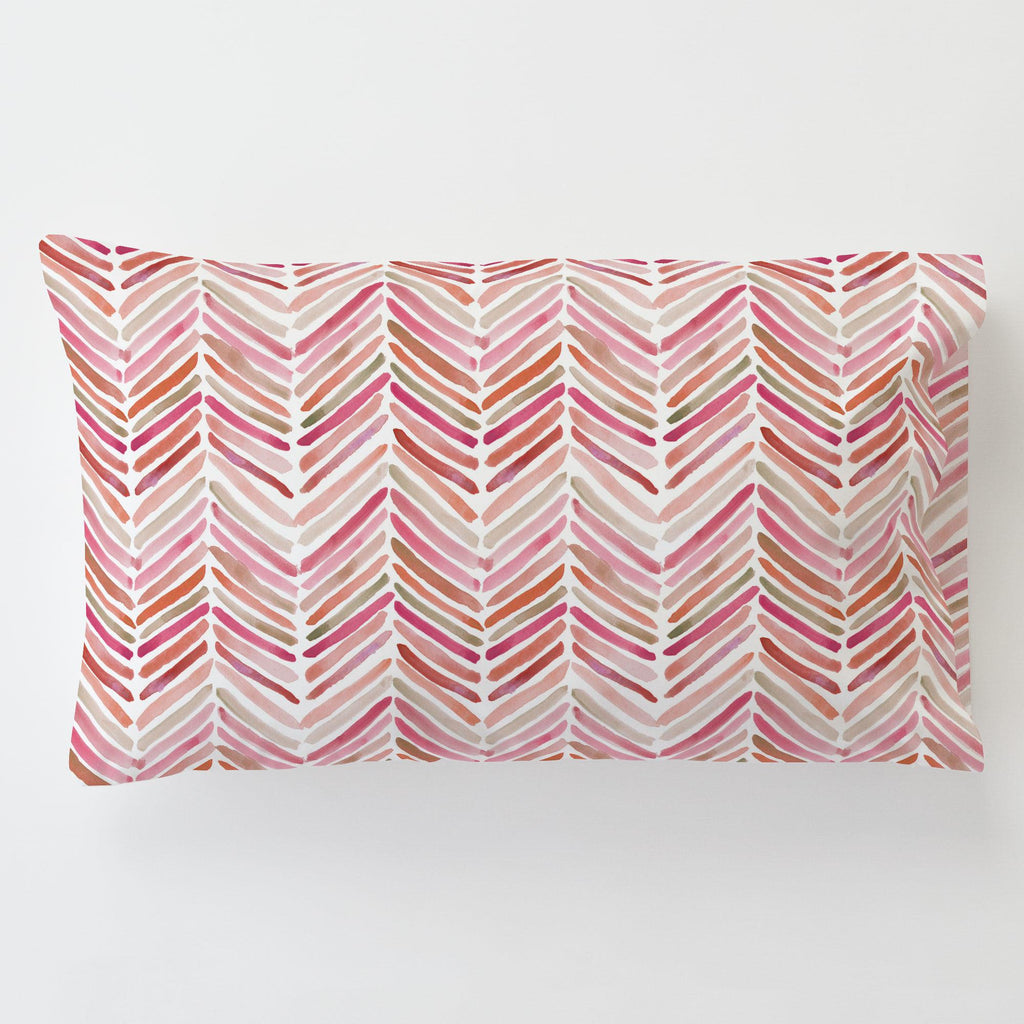 Product image for Pink Painted Chevron Toddler Pillow Case with Pillow Insert