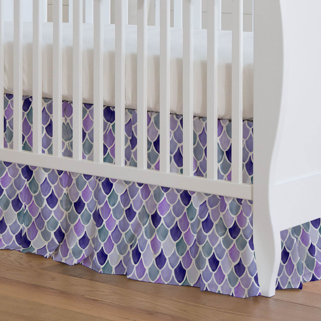 Product image for Lilac Watercolor Scales Crib Skirt Gathered