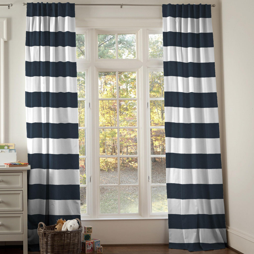 Product image for Navy Horizontal Stripe Drape Panel