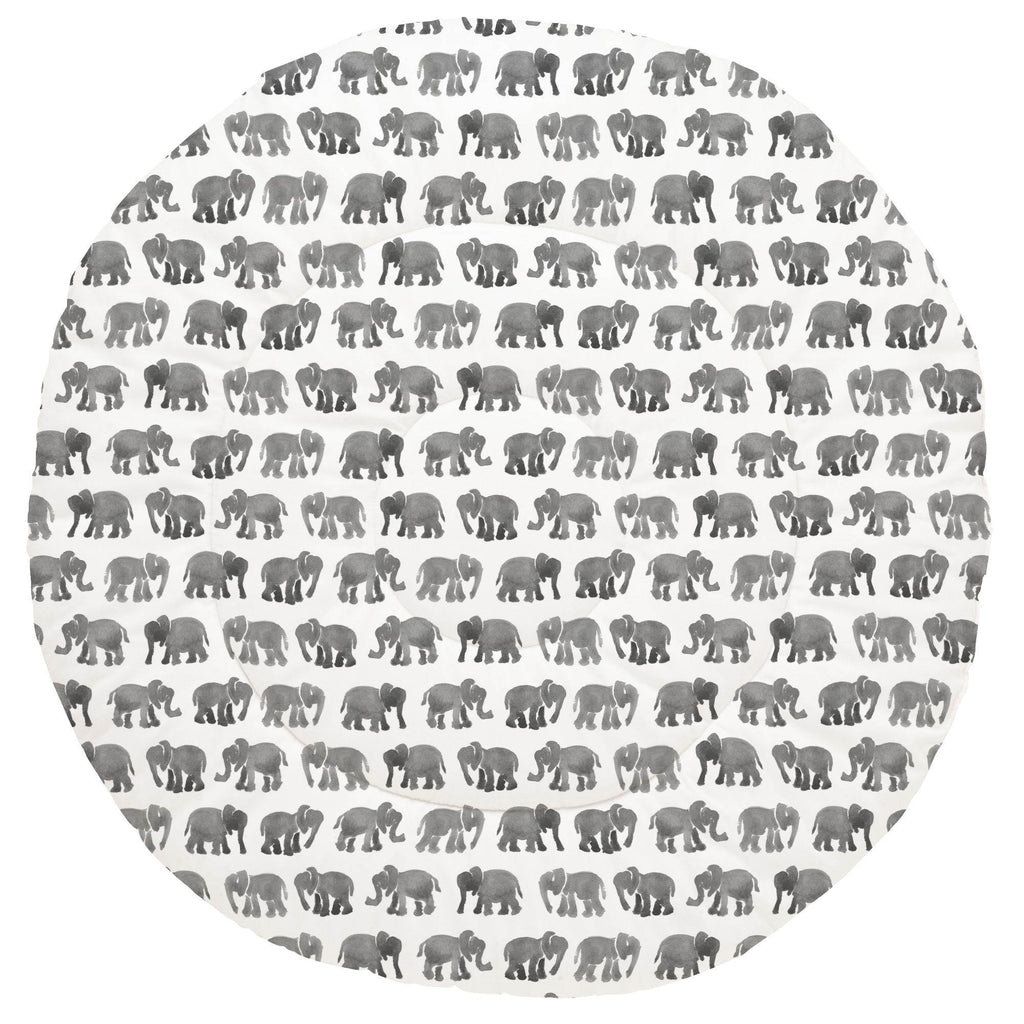 Product image for Gray Watercolor Elephants Baby Play Mat