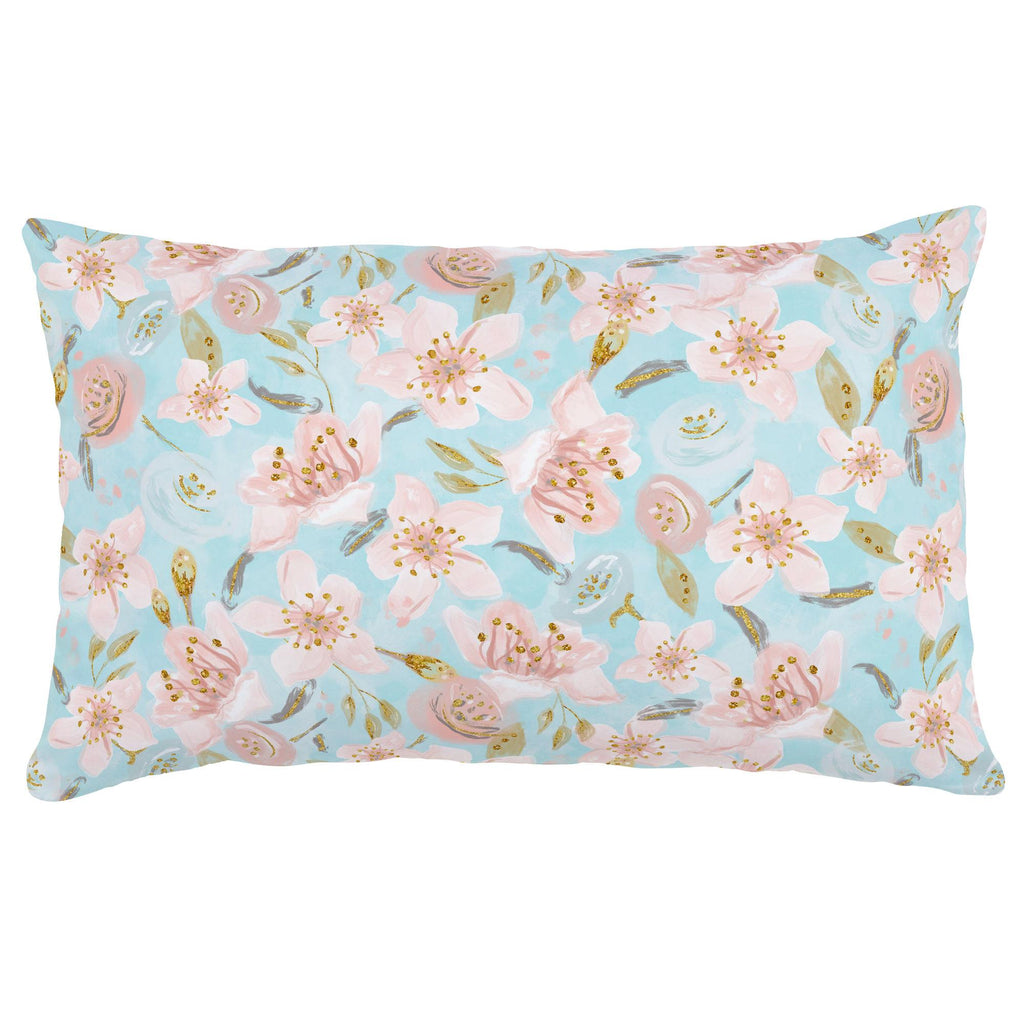 Product image for Aqua and Pink Hawaiian Floral Lumbar Pillow