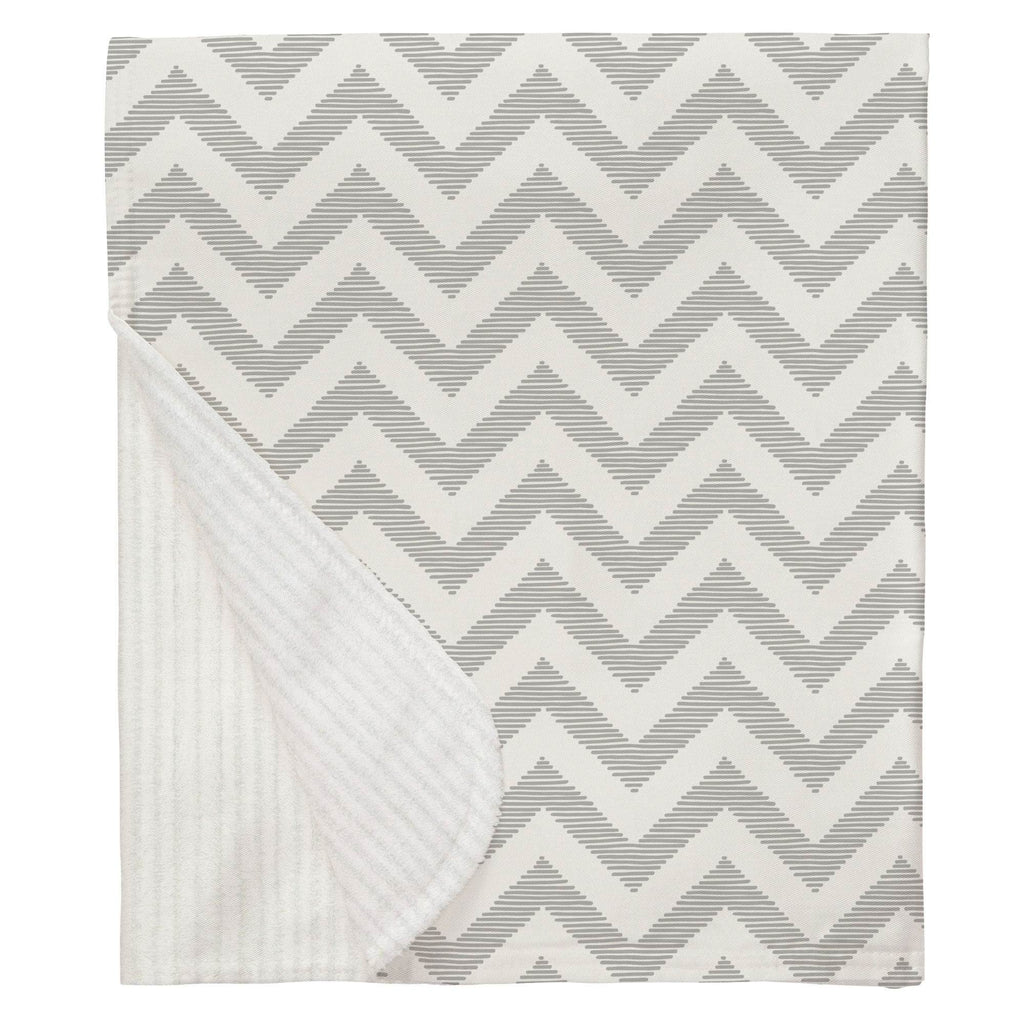 Product image for White and Silver Gray Chevron Baby Blanket