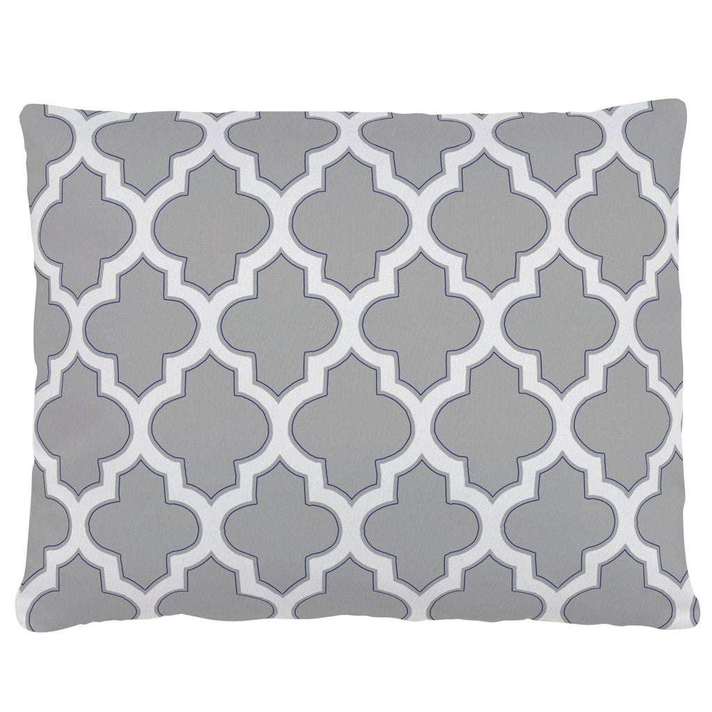 Product image for Silver Gray and Navy Hand Drawn Quatrefoil Accent Pillow