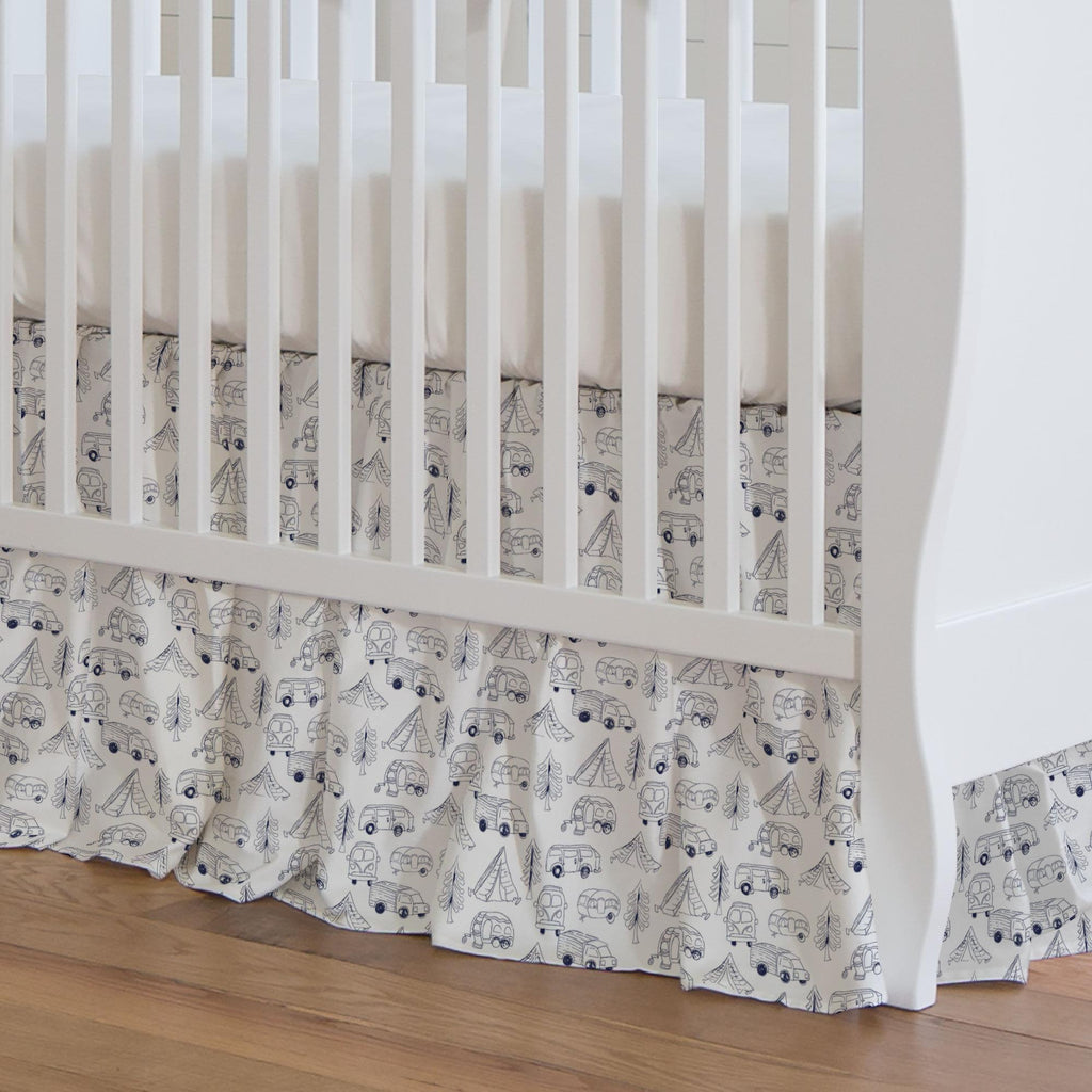 Product image for Navy Little Campers Crib Skirt Gathered
