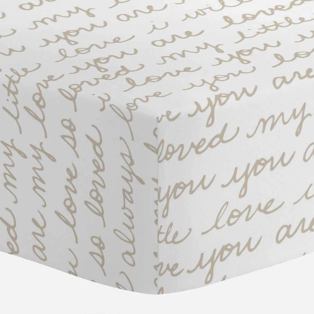 Product image for Taupe Love Words Crib Sheet