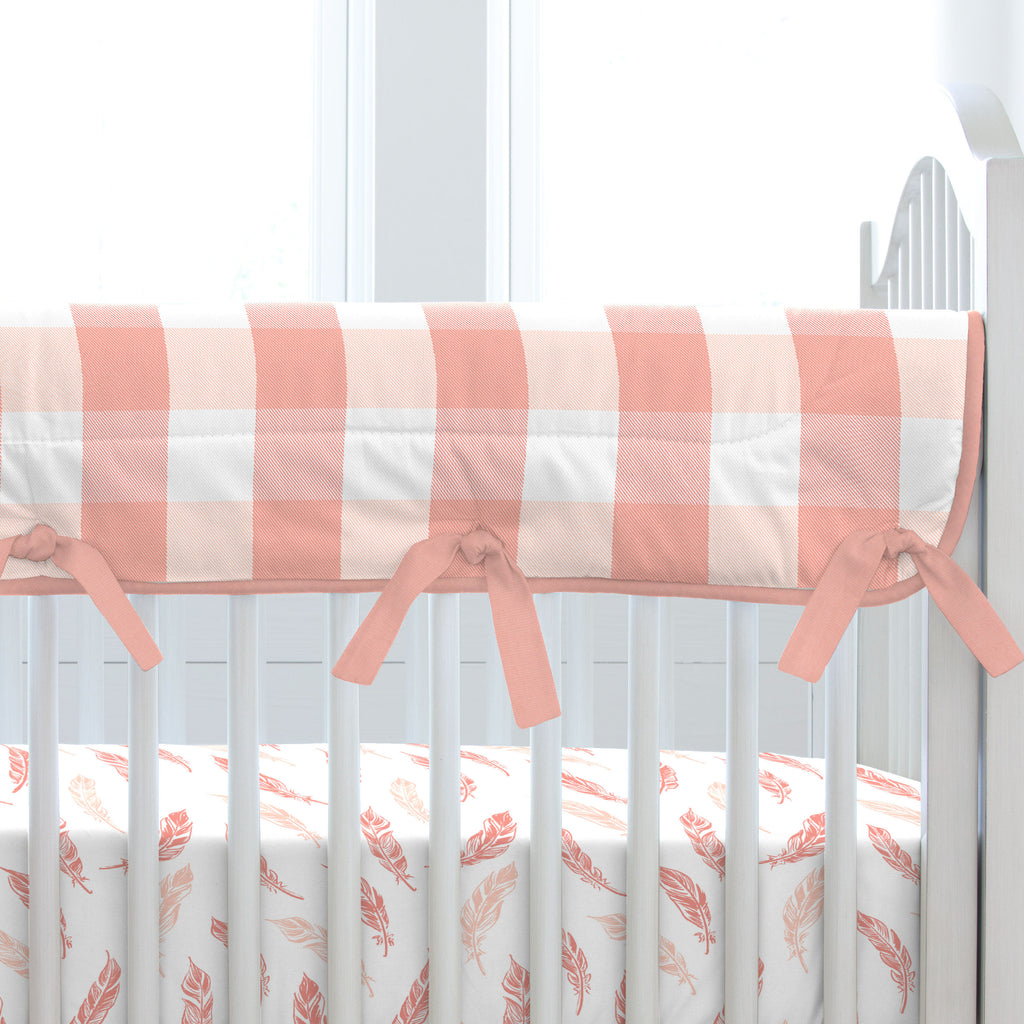 Product image for Light Coral and Peach Buffalo Check Crib Rail Cover