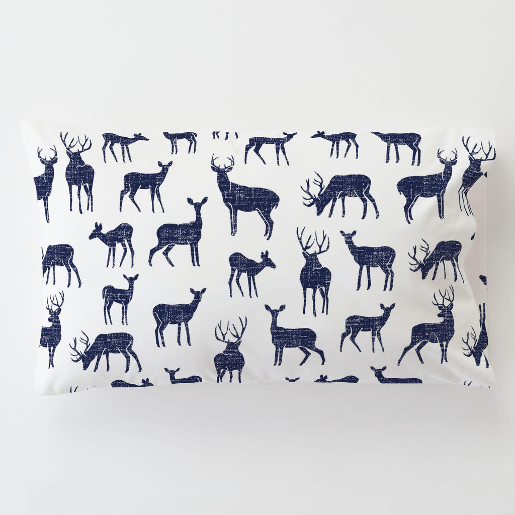 Product image for Windsor Navy Deer Toddler Pillow Case with Pillow Insert
