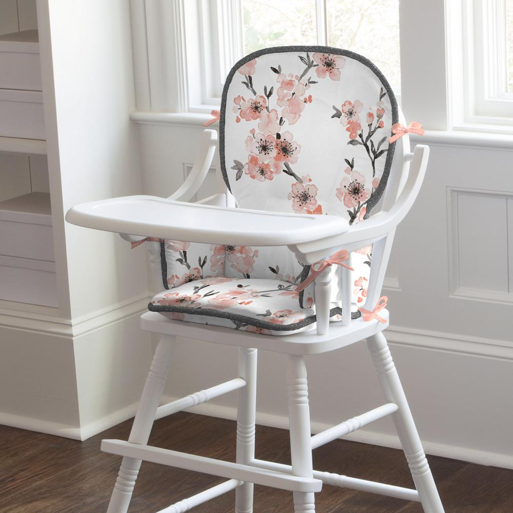 Product image for Light Coral Cherry Blossom High Chair Pad