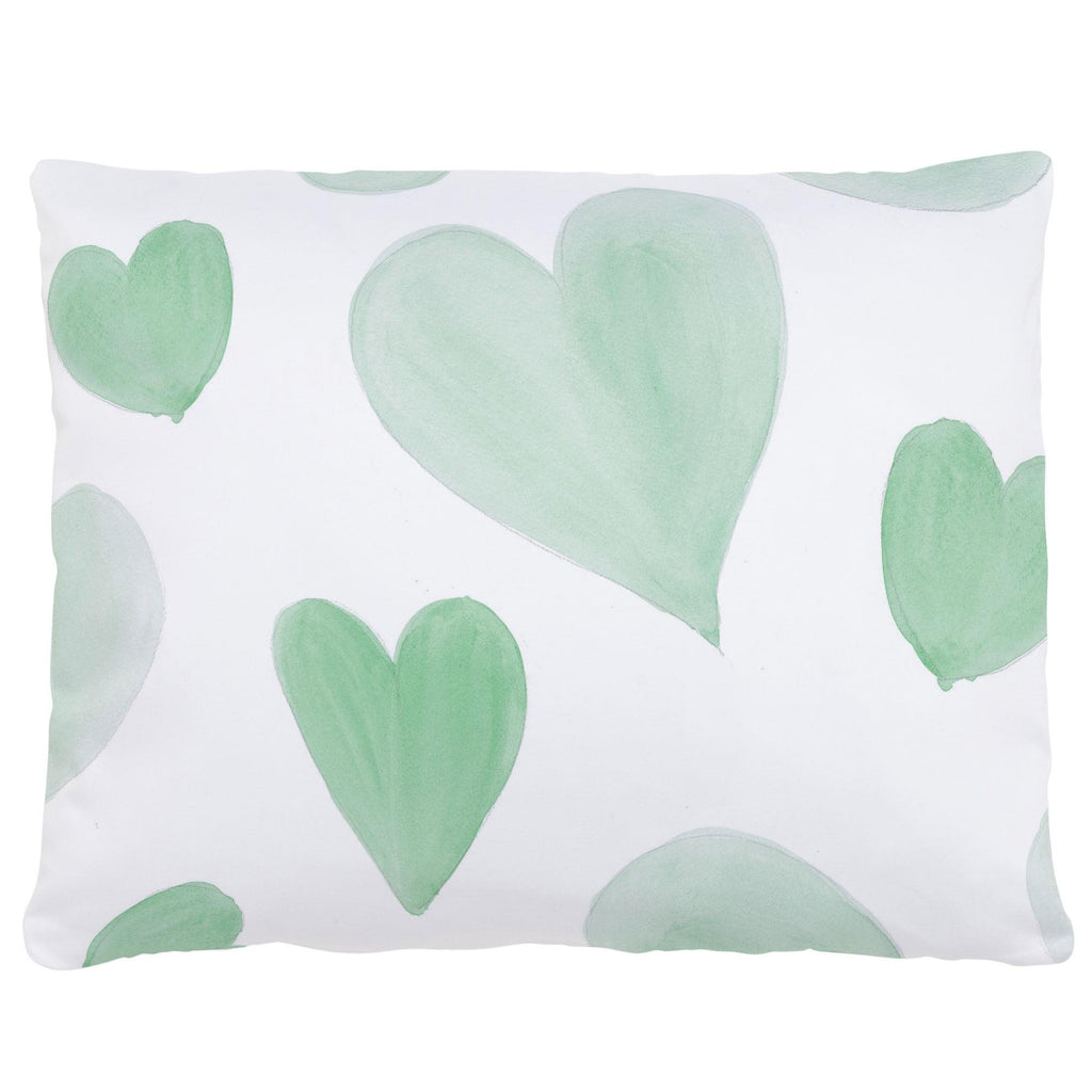 Product image for Mint Watercolor Hearts Accent Pillow