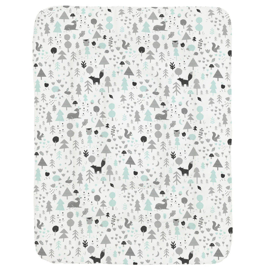 Product image for Icy Mint and Silver Gray Baby Woodland Crib Comforter