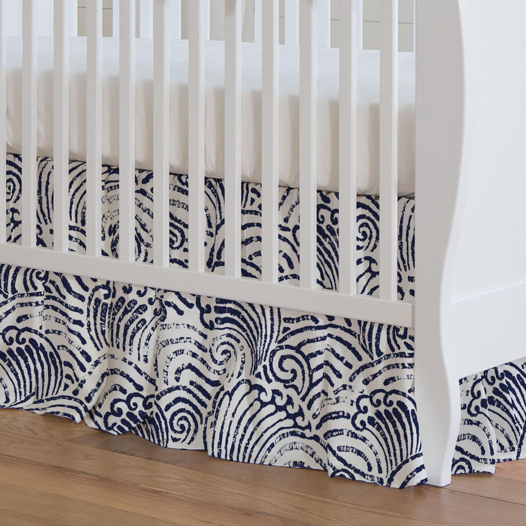 Product image for Navy Seas Crib Skirt Gathered