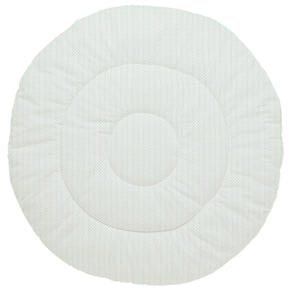 Product image for White and Mint Classic Herringbone Baby Play Mat