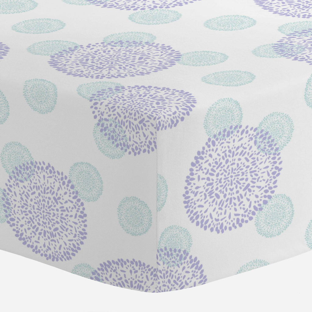Product image for Lilac and Mist Dandelion Crib Sheet