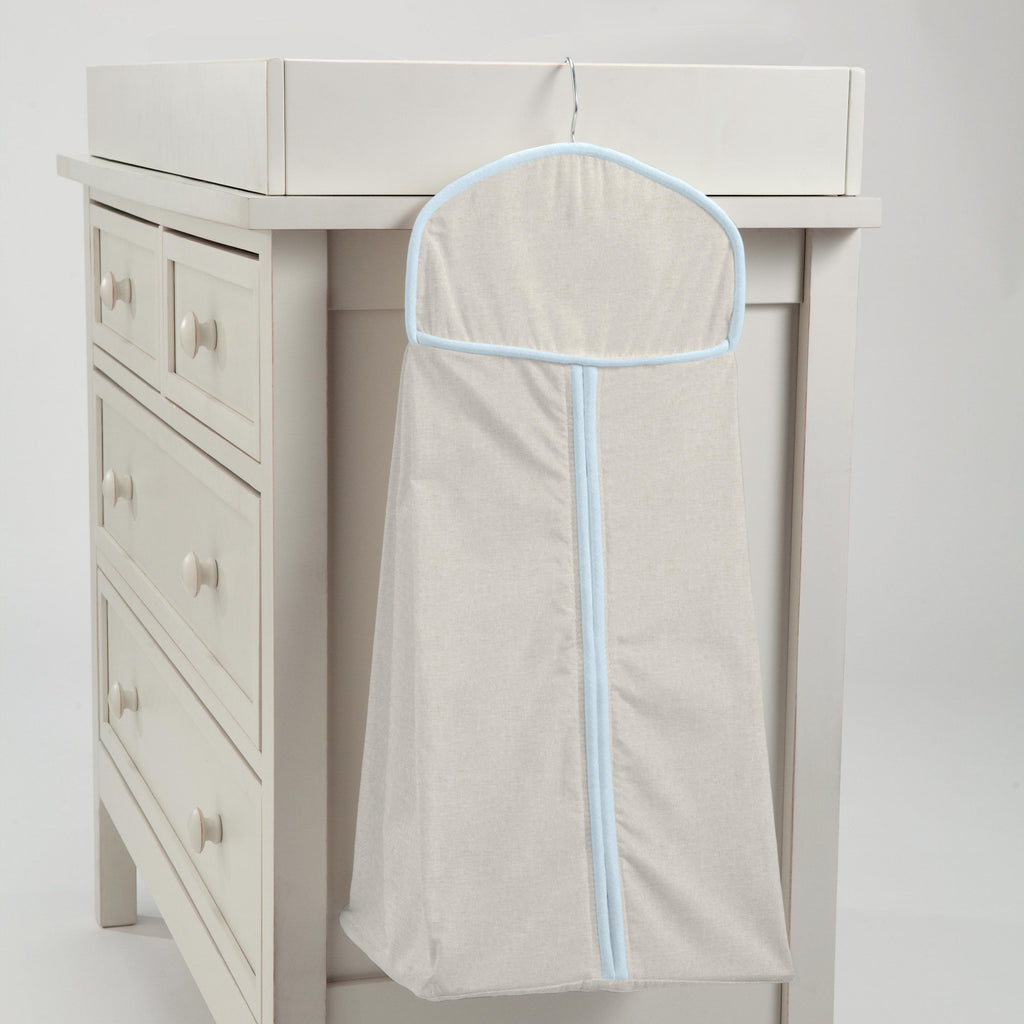 Product image for Light Blue and Flax Linen Diaper Stacker