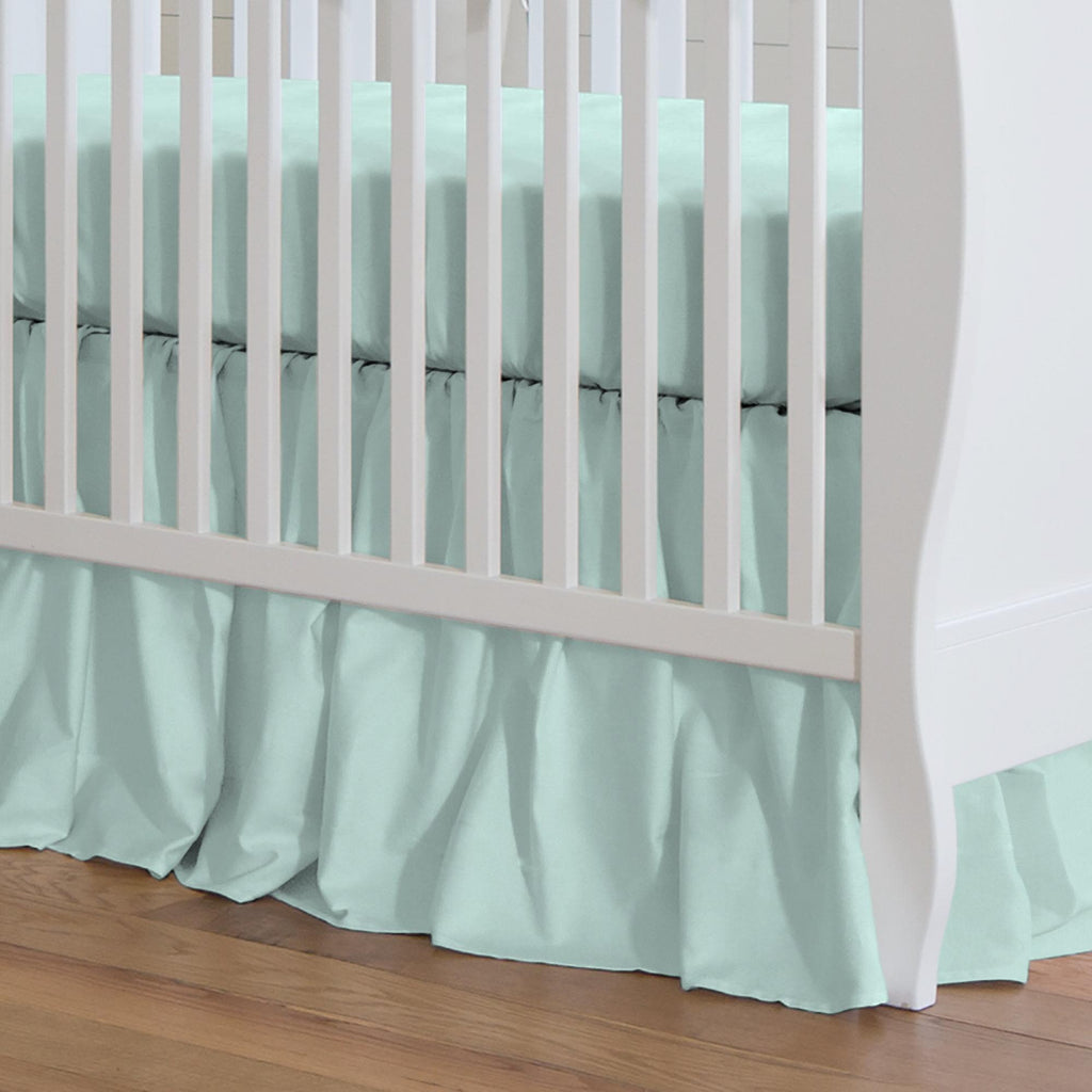 Product image for Solid Seafoam Aqua Crib Skirt Gathered
