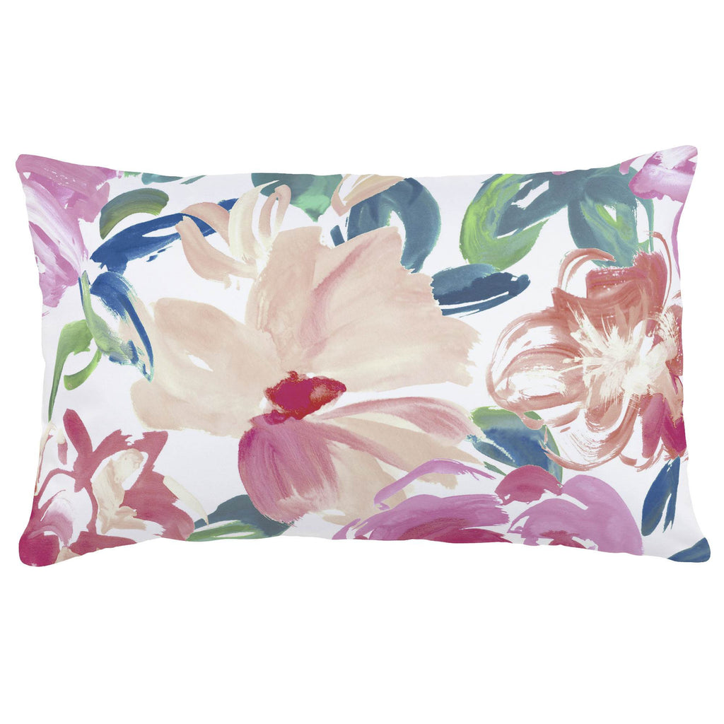 Product image for Pink Brushstroke Floral Lumbar Pillow