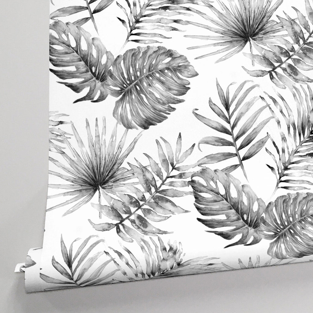 Product image for Gray Painted Tropical Wallpaper Panel