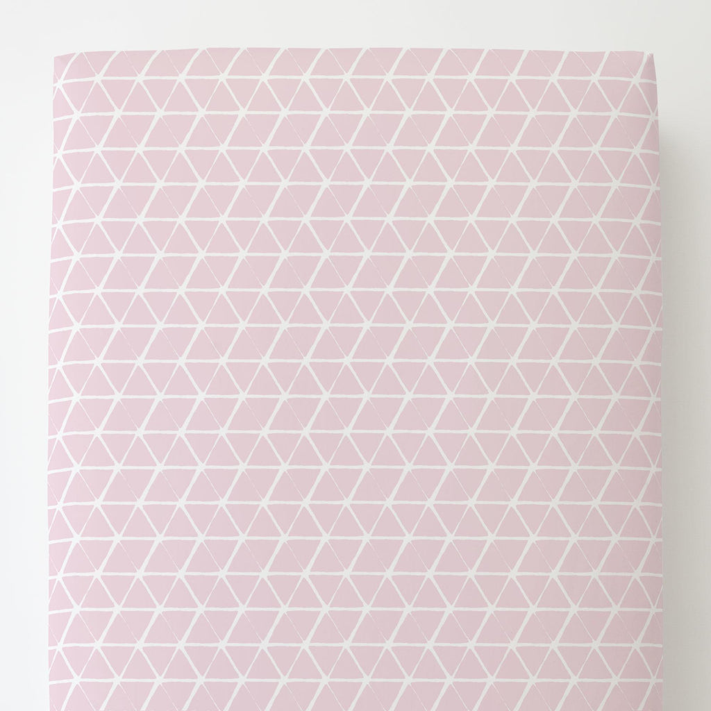 Product image for Pink Aztec Triangles Toddler Sheet Bottom Fitted
