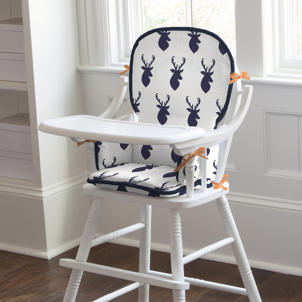 Product image for Windsor Navy Deer Head High Chair Pad