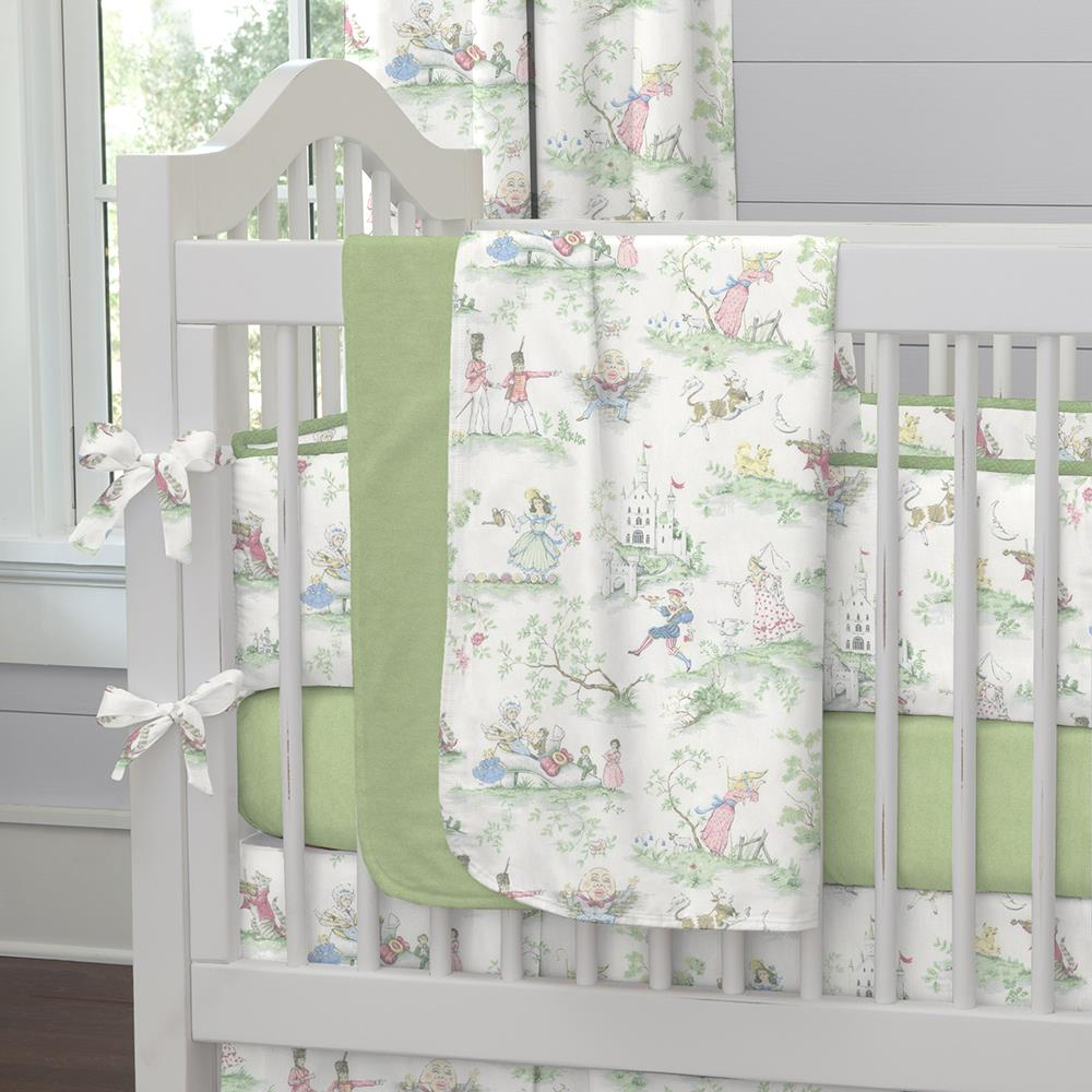 Product image for Sage and Nursery Rhyme Toile Baby Blanket