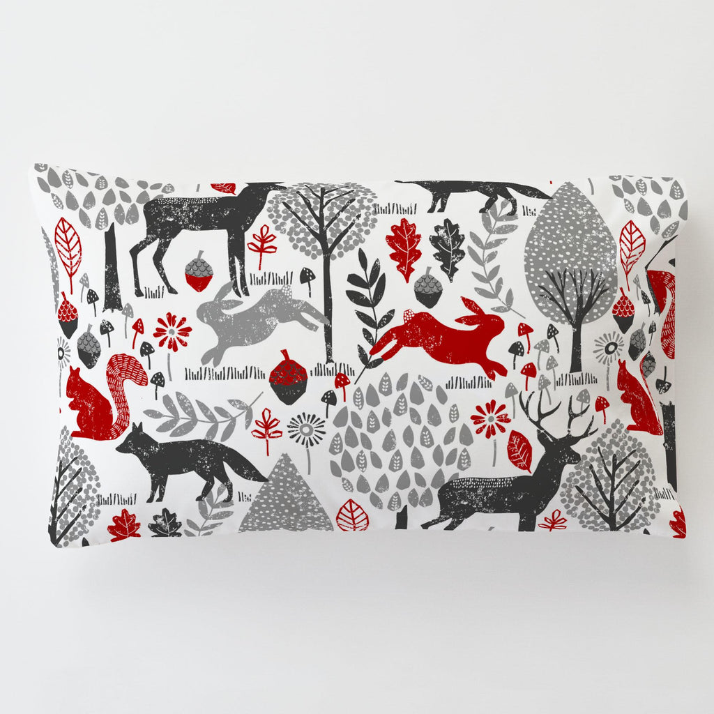 Product image for Red and Gray Woodland Animals Toddler Pillow Case with Pillow Insert