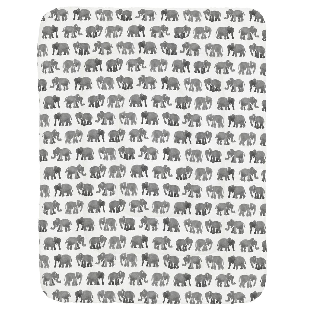Product image for Gray Watercolor Elephants Crib Comforter