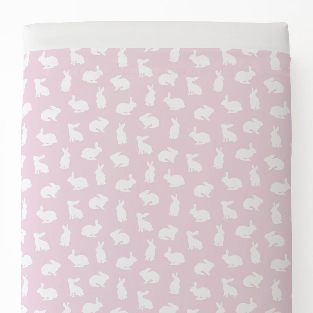 Product image for Pink and White Bunnies Toddler Sheet Top Flat
