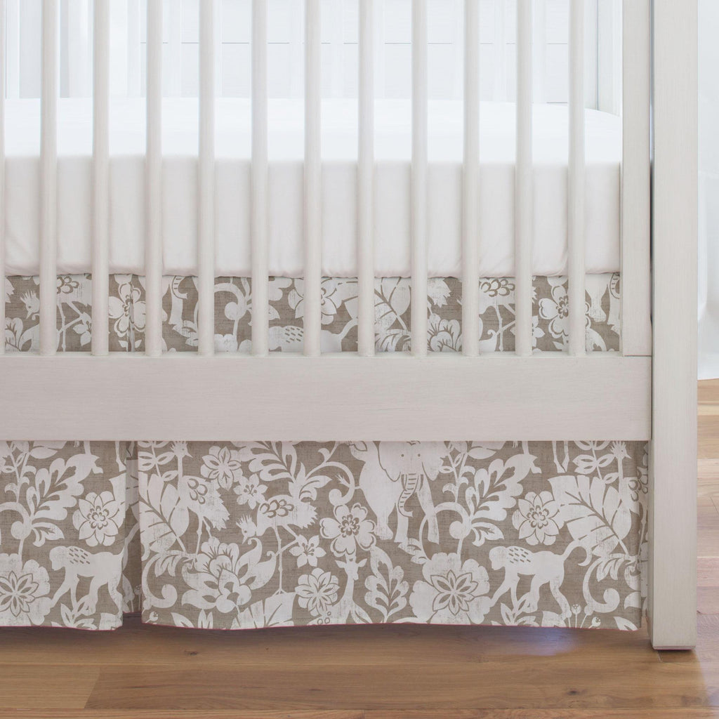 Product image for Taupe and White Jungle Crib Skirt Single-Pleat