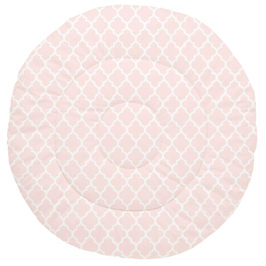 Product image for Blush Pink Hand Drawn Quatrefoil Baby Play Mat